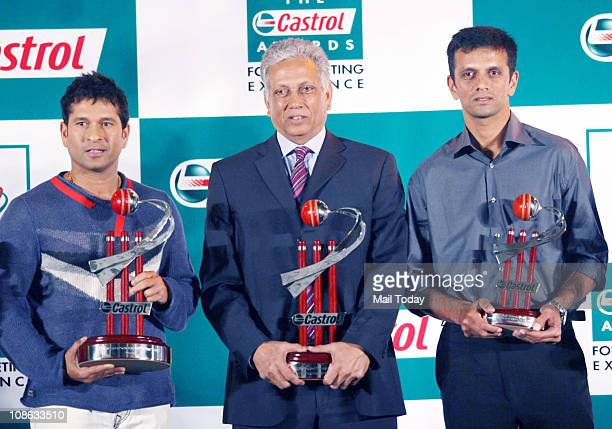 Sachin Tendulkar former cricketer Mohinder Amarnath and Rahul Dravid during the Castrol Awards for Cricketing Excellence in Mumbai
