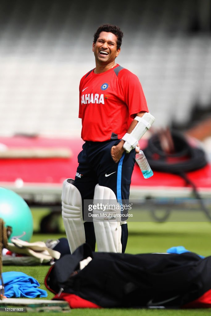 Sachin Tendulkar laughs during the India Nets Session held at The Kia Oval on August 17, 2011 in London, England.