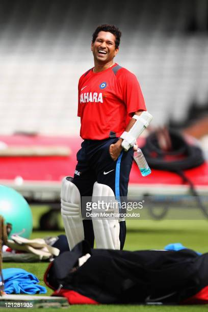 Sachin Tendulkar laughs during the India Nets Session held at The Kia Oval on August 17 2011 in London England