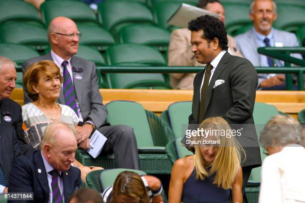 Sachin Tendulkar looks on in the centre court royal box on day eleven of the Wimbledon Lawn Tennis Championships at the All England Lawn Tennis and...