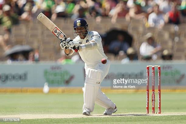 Sachin Tendulkar of India bats during day three of the Fourth Test Match between Australia and India at Adelaide Oval on January 26 2012 in Adelaide...