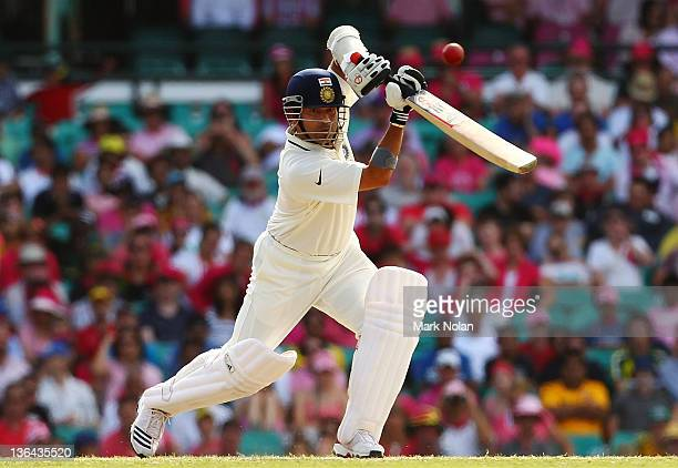 Sachin Tendulkar of India bats during day three of the Second Test Match between Australia and India at Sydney Cricket Ground on January 5 2012 in...