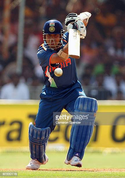 Sachin Tendulkar of India bats during the first One Day International match between India and Australia at Reliance Stadium on October 25 2009 in...