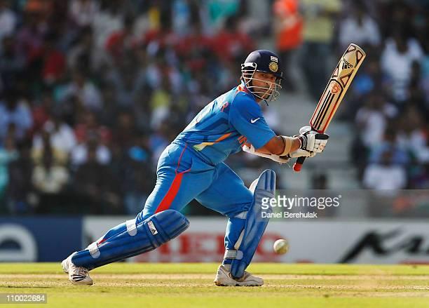Sachin Tendulkar of India bats during the Group B ICC World Cup Cricket match between India and South Africa at Vidarbha Cricket Association Ground...