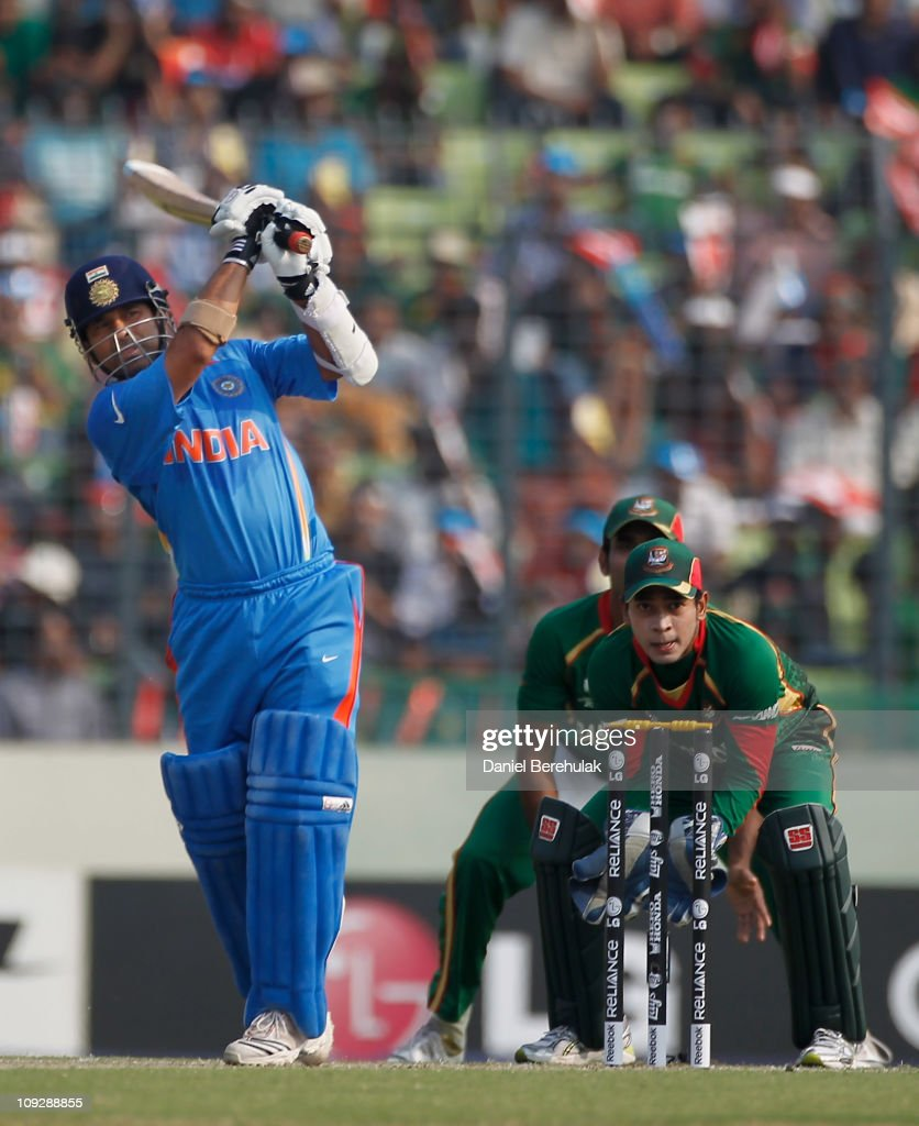 <a gi-track='captionPersonalityLinkClicked' href=/galleries/search?phrase=Sachin+Tendulkar&family=editorial&specificpeople=201846 ng-click='$event.stopPropagation()'>Sachin Tendulkar</a> of India bats during the opening game of the ICC Cricket World Cup between Bangladesh and India at the Shere-e-Bangla National Stadium on February 19, 2011 in Dhaka, Bangladesh.