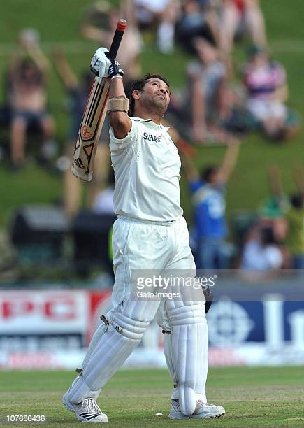 Sachin Tendulkar of India celebrates his 50th Test century during day 4 of the 1st Test match between South Africa and India at SuperSport Park on...