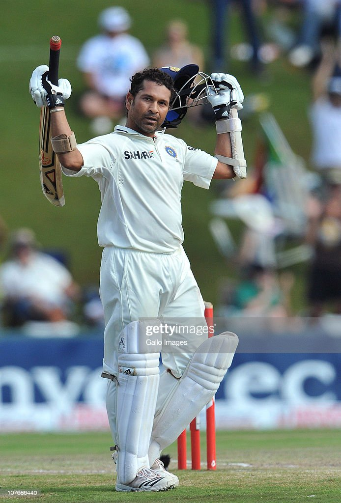 <a gi-track='captionPersonalityLinkClicked' href=/galleries/search?phrase=Sachin+Tendulkar&family=editorial&specificpeople=201846 ng-click='$event.stopPropagation()'>Sachin Tendulkar</a> of India celebrates his 50th Test century during day 4 of the 1st Test match between South Africa and India at SuperSport Park on December 19, 2010 in Centurion, South Africa.
