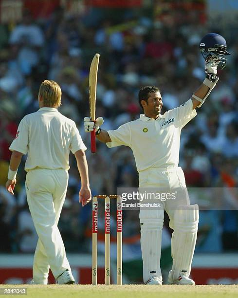 Sachin Tendulkar of India celebrates his double century during day two of the fourth Test between Australia and India at the SCG on January 3 2004 in...