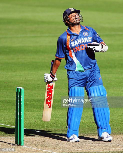 Sachin Tendulkar of India celebrates reaching 150 during the third One Day International match between the New Zealand Blackcaps and India at AMI...