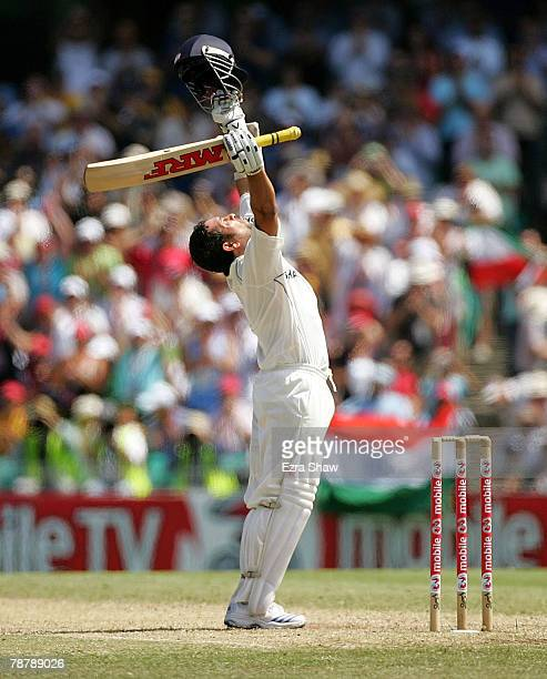 Sachin Tendulkar of India celebrates reaching his century during day three of the Second Test match between Australia and India at the Sydney Cricket...