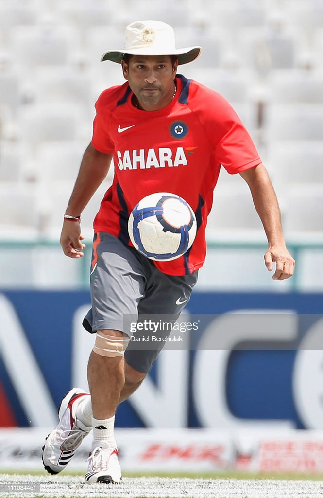 Sachin Tendulkar of India controls a football during an Indian training session on March 29, 2011 in Mohali, India. India will play Pakistan in the ICC World Cup Semi-Final on Wednesday.