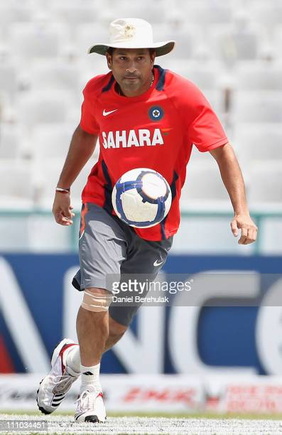 Sachin Tendulkar of India controls a football during an Indian training session on March 29 2011 in Mohali India India will play Pakistan in the ICC...