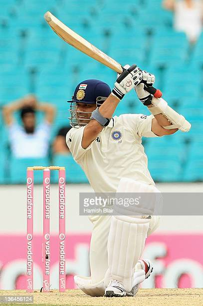Sachin Tendulkar of India cover drives during day four of the Second Test Match between Australia and India at Sydney Cricket Ground on January 6...
