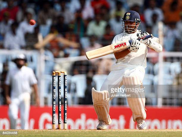 Sachin Tendulkar of India cuts during day 5 of the First Test Match between India and England at the MA Chidambaram Stadium on December 15 2008 in...