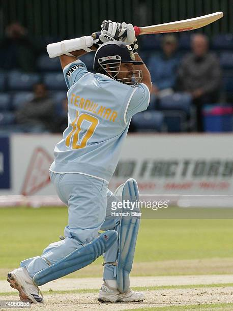 Sachin Tendulkar of India drives into the covers during the second One Day International match between South Africa and India at the Civil Service...