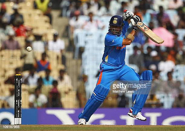 Sachin Tendulkar of India edges the ball away towards the bounary during the 2011 ICC World Cup Warm up game against India and New Zealand at the MA...