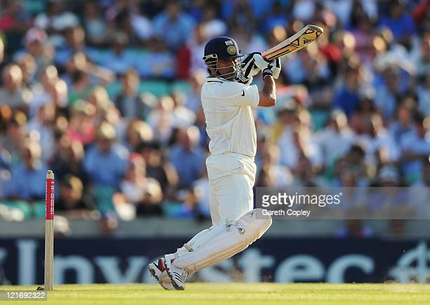 Sachin Tendulkar of India hits out during day four of the 4th npower Test Match between England and India at The Kia Oval on August 21 2011 in London...