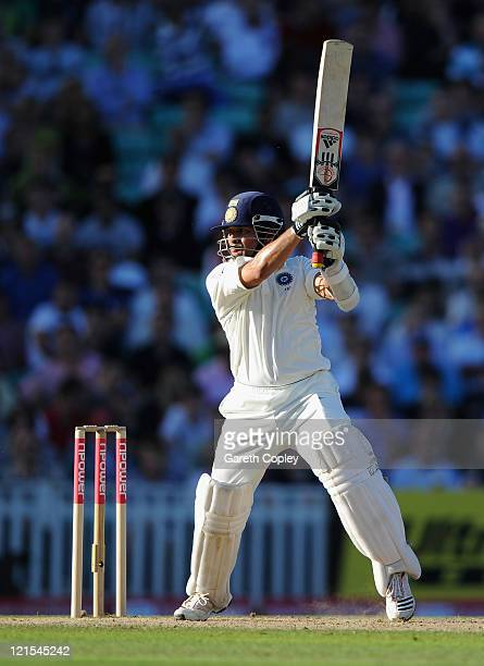 Sachin Tendulkar of India hits out during day three of the 4th npower Test Match between England and India at The Kia Oval on August 20 2011 in...