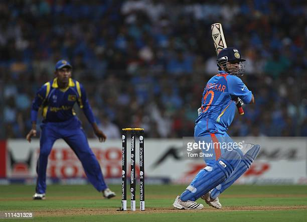 Sachin Tendulkar of India hits out during the 2011 ICC World Cup Final between India and Sri Lanka at the Wankhede Stadium on April 2 2011 in Mumbai...
