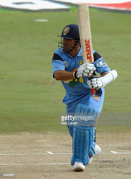 Sachin Tendulkar of India hits out during the ICC Cricket World Cup 2003 Pool A match between India and Pakistan held on March 1 2003 at the...