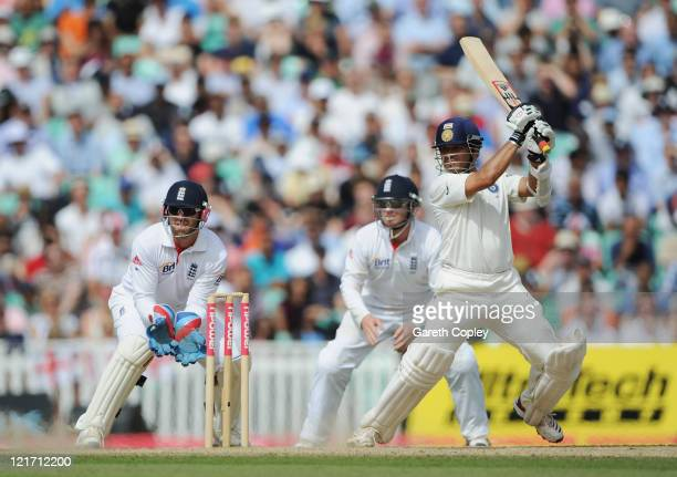 Sachin Tendulkar of India hits out watched by wicketkeeper Matt Prior and Ian Bell of England during day five of the 4th npower Test Match between...