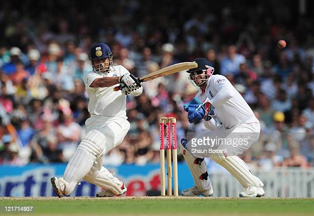 Sachin Tendulkar of India hits out watched by wicketkeeper Matt Prior of England during day five of the 4th npower Test Match between England and...