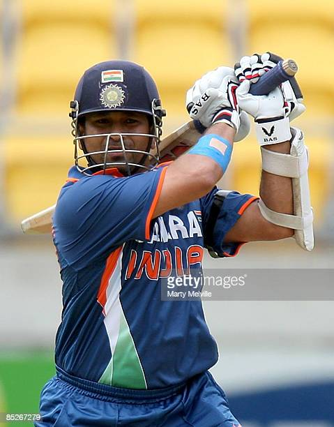 Sachin Tendulkar of India hits the ball during the second one day international match between the New Zealand Black Caps and India at Westpac Stadium...