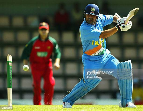Sachin Tendulkar of India in action during the VB Series One Day International between India and Zimbabwe at Bellerive Oval on January 14 2004 in...