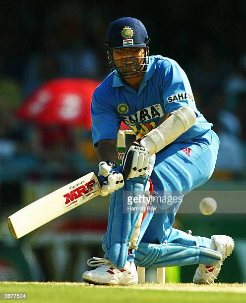 Sachin Tendulkar of India in action during the VB Series One Day International between Australia and India at the 'Gabba on January 18 2004 in...