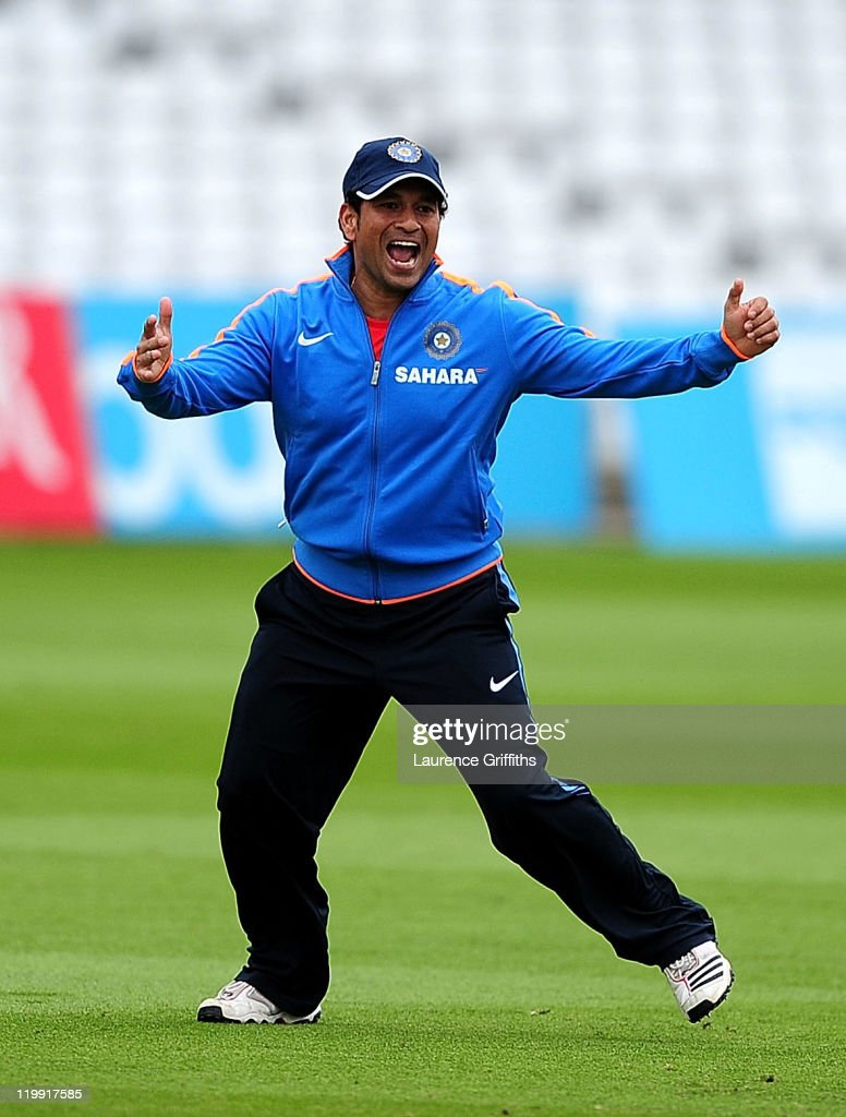 Sachin Tendulkar of India is all smiles during Net Practice ahead of the second Test match at Trent Bridge on July 27, 2011 in Nottingham, England.