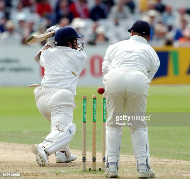 Sachin Tendulkar of India is bowled for 92 by Michael Vaughan of England during the Second npower Test match between England and India on August 12...
