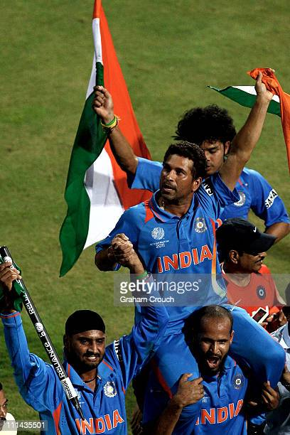 Sachin Tendulkar of India is chaired on a lap of honor after India's victory over Sri Lanka in the 2011 ICC World Cup Final between India and Sri...