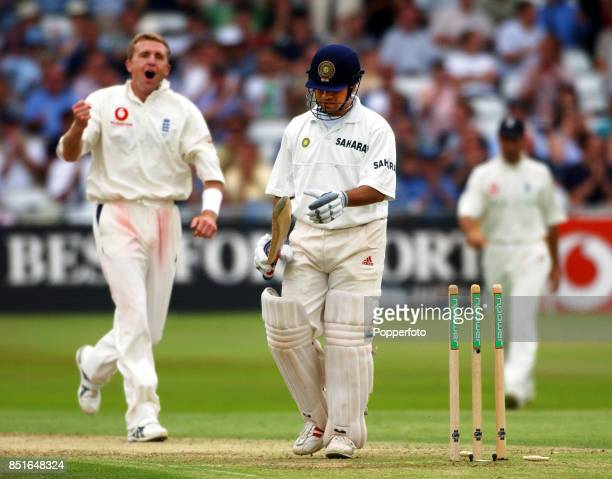 Sachin Tendulkar of India is out after playing on attempting to hook Dominic Cork of England during the Second npower Test match between England and...