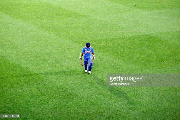 Sachin Tendulkar of India leaves the field after being dismissed during the One Day International match between India and Sri Lanka at Bellerive Oval...