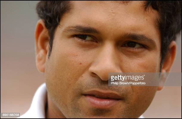 Sachin Tendulkar of India prepares for a net session before the 4th Test match between England and India at the Oval in London on September 4th 2002