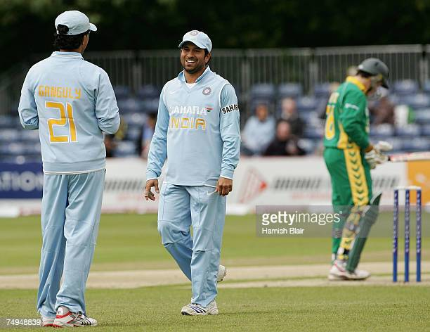 Sachin Tendulkar of India shares a laugh with team mate Sourav Ganguly during the second One Day International match between South Africa and India...