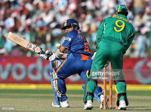 Sachin Tendulkar of India sweeps a delivery during the 2nd ODI between India and South Africa at Captain Roop Singh Stadium on February 24 2010 in...