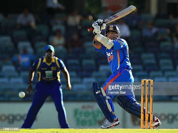 Sachin Tendulkar of India turns the ball to leg during the One Day International match between India and Sri Lanka at WACA on February 8 2012 in...