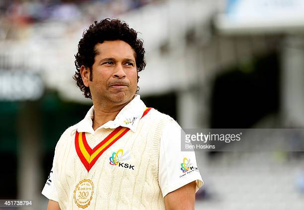 Sachin Tendulkar of MCC looks on prior to the MCC and Rest of the World match at Lord's Cricket Ground on July 5 2014 in London England