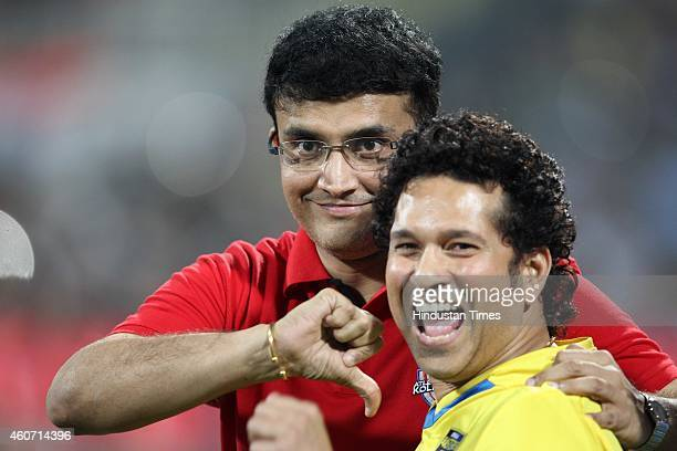 Sachin Tendulkar of Mumbai City FC and Sourav Ganguly of Atletico De Kolkata during a closing ceremony of Indian Super League football tournament...