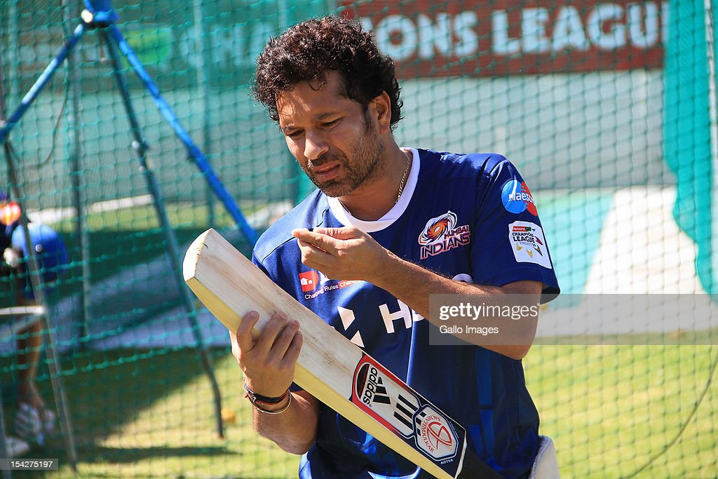 <a gi-track='captionPersonalityLinkClicked' href=/galleries/search?phrase=Sachin+Tendulkar&family=editorial&specificpeople=201846 ng-click='$event.stopPropagation()'>Sachin Tendulkar</a> of Mumbai Indians attends a training session during the Champions League Twenty20, at Sahara Park Newlands on October 17, 2012 in Cape Town, South Africa.