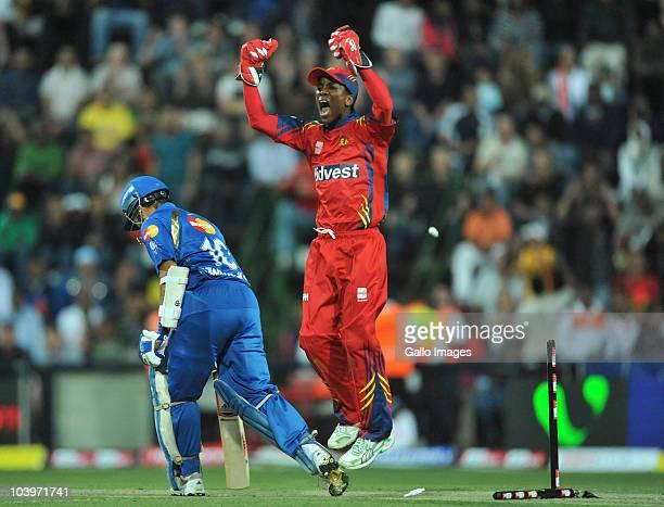 Sachin Tendulkar of the Mumbai Indians bowled by Shane Burger during the Airtel Champions League Twenty20 match between Mumbai Indians and Highveld...
