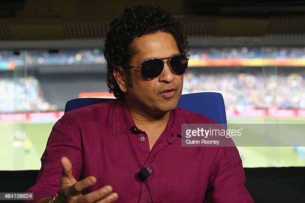 Sachin Tendulkar speaks to the media during the 2015 ICC Cricket World Cup match between South Africa and India at Melbourne Cricket Ground on...