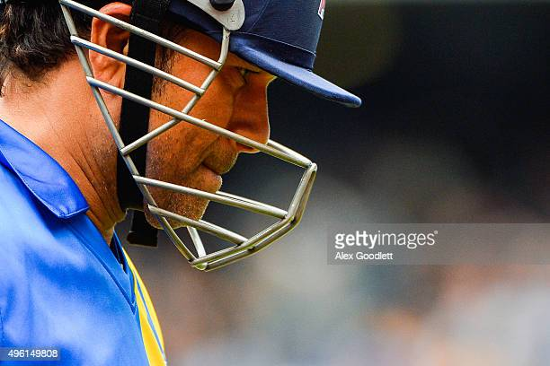 Sachin's Blasters player Sachin Tendulkar looks on after being called out during a match in the Cricket AllStars Series at Citi Field on November 7...