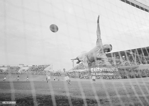 Sachio Shimomura of Japan makes a save during the international friendly match between Japan and Burma at Korakuen Velodrome on October 9 1955 in...