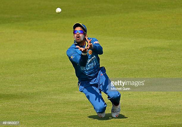 Sachithra Senanayake of Sri Lanka takes a catch to dismiss Ben Brown during the T20 match between The Sussex Sharks and Sri Lanka played at the...