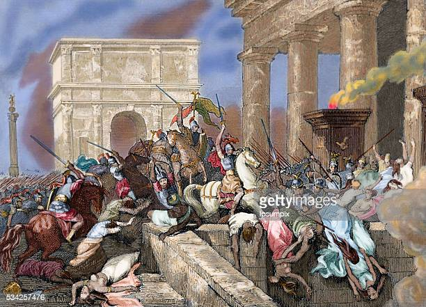 Sack of Rome by the Visigoths led by Alaric I in 410 during the reign of Emperor Honorius Colored engraving
