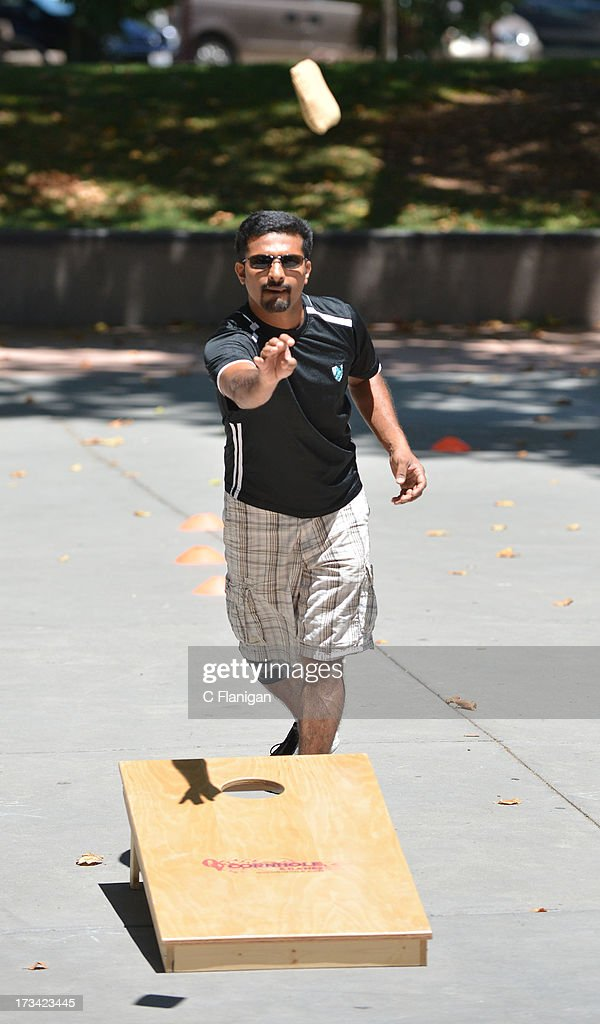 Sack Tossing during the Founder Institute's Silicon Valley Sports League event on July 13, 2013 in Palo Alto, California.