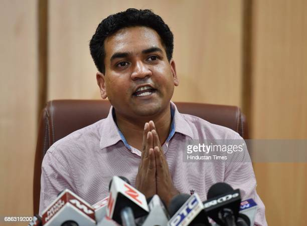 Sacked Delhi minister Kapil Mishra during a press conference at his residence on May 21 2017 in New Delhi India Mishra said today that Sheetal runs a...