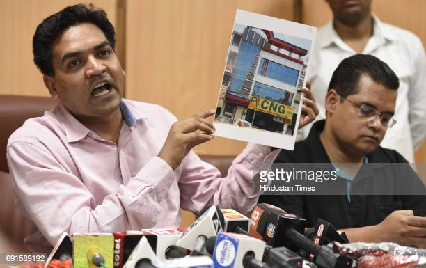 Sacked Delhi Minister Kapil Mishra during a press conference on the issue of AAP Delhi Government CNG kit corruption at his residence on June 2 2017...